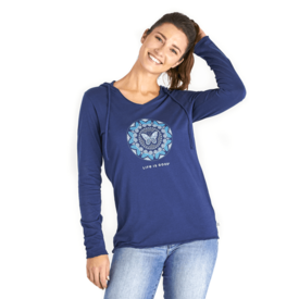 Life is Good Womens L/S Hooded Tee, Butterfly