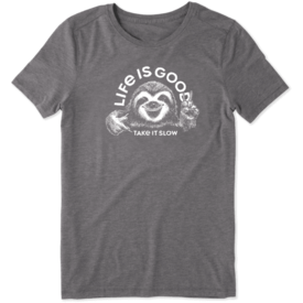 Life is Good Womens Cool Tee, Take it Slow Sloth