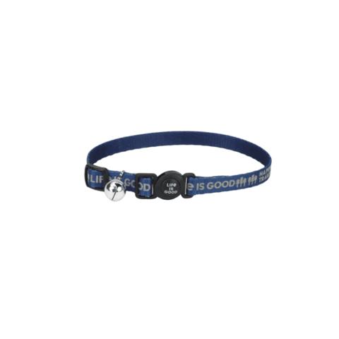 Reflective Cat Collar, Happy Trails, Darkest Blue