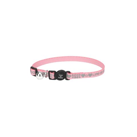 Reflective Cat Collar, Good Vibes, Happy Pink