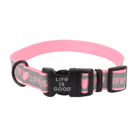Reflective Dog Collar, Lucky Dog, Large, Happy Pink