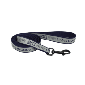 Life is Good Reflective Dog Leash, Happy Trails, S/M, Darkest Blue