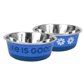 Life is Good LIG Stainless Steel Pet Bowl, Daisy, Small, Royal Blue