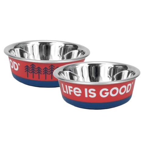 LIG Stainless Steel Pet Bowl, Trees, Large, Faded Red