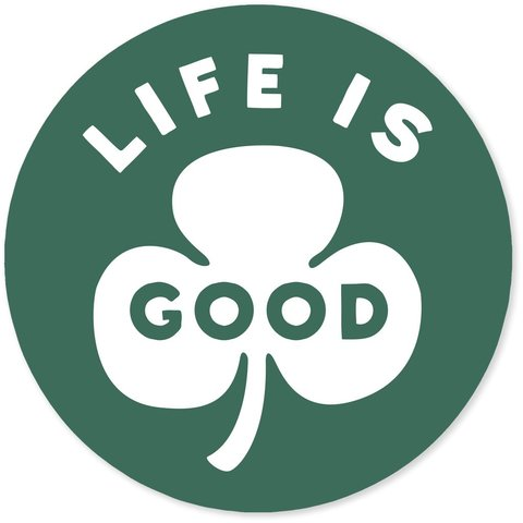 "4"" Sticker Life is Good Clover, Jungle Green"