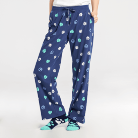 Life is Good Womens Snuggle Up Sleep Pant, Peace, Love, Dogs