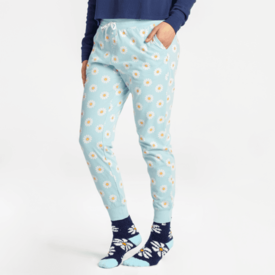 Life is Good Womens Snuggle Up Sleep Jogger, Daisy