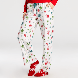 Life is Good Womens Snuggle Up Sleep Pant, Believe Snowflakes