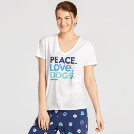 Life is Good Womens Snuggle Up Sleep Tee, Peace, Love Dogs