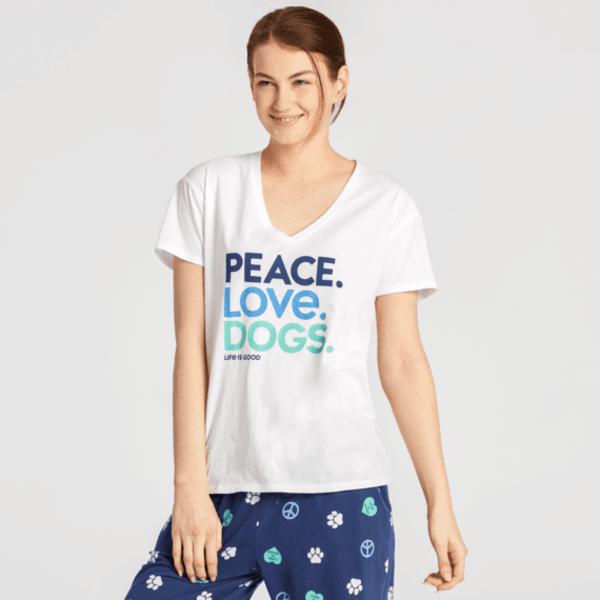 Life is Good Womens Snuggle Up Sleep Tee, Peace, Love Dogs