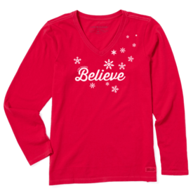 Life is Good Womens Crusher L/S Vee, Believe