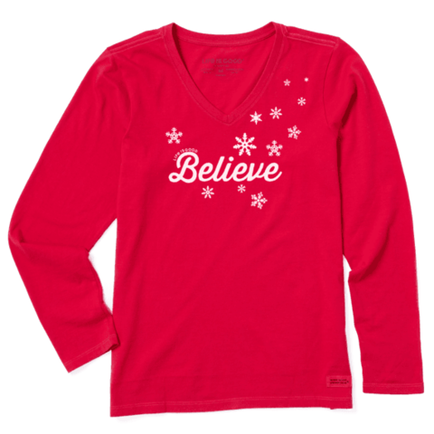 Womens Crusher L/S Vee, Believe