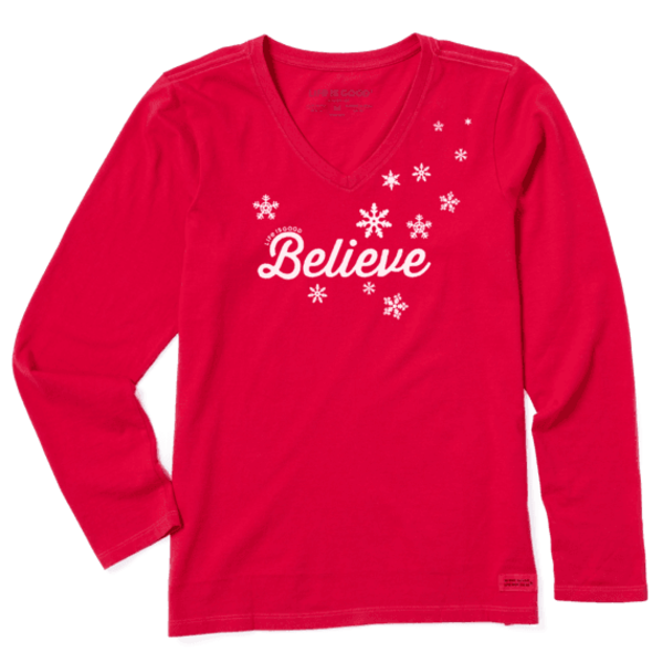 Life is Good Womens Crusher L/S Tee Believe Snowflakes