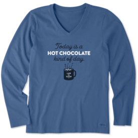 Life is Good Womens Crusher L/S Vee, Hot Chocolate Kind of Day