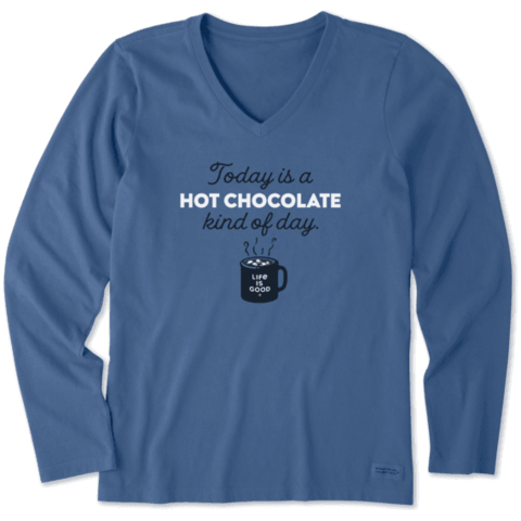 Womens Crusher L/S Vee, Hot Chocolate Kind of Day