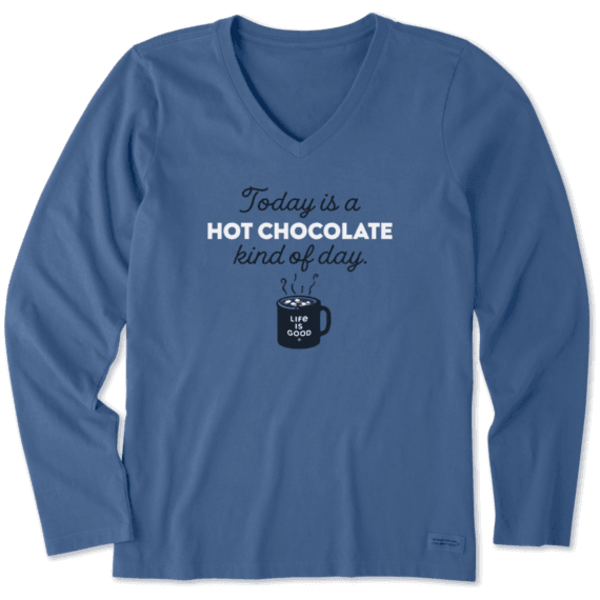 Life is Good Womens Crusher L/S Tee Hot Chocolate Kind of Day