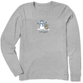 Life is Good Womens Crusher L/S Tee, Snowman Rocket