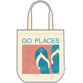 Life is Good Canvas Messaging Tote, Go Places