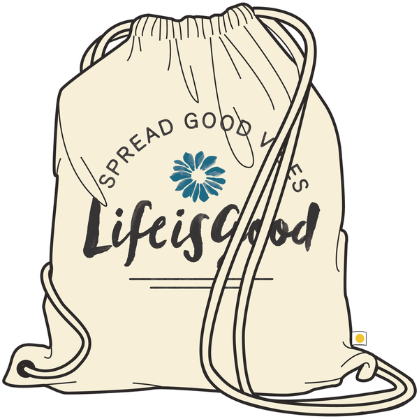 Life is Good Canvas Messaging Cinch Sack, Spread Good Vibes