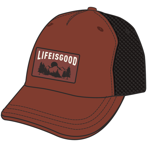 Men's Mesh Back Chill Cap, Life is Good, Earthy Rust