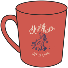 Life is Good Everyday Mug, Happy Trails, Coral Orange