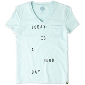 Life is Good Womens Pocket Sleep Vee, Today is a Good Day