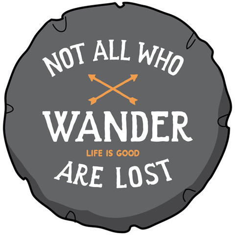 Tire Cover, Not All Who Wander, Black, 29""