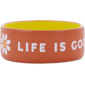 Life is Good Large Dog Bowl, LIG Daisy, Tropical Orange