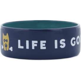 Life is Good Large Dog Bowl, LIG Rocket, Darkest Blue