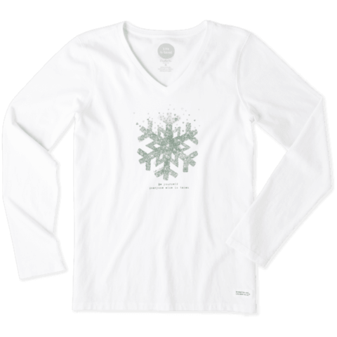 Womens Crusher L/S Vee, Be Yourself Snowflake