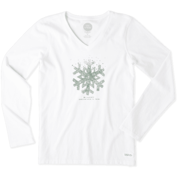 Life is Good Womens Crusher L/S Vee, Be Yourself Snowflake