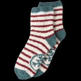 Women's Snuggle Crew Socks, Snowflake, Cranberry Red