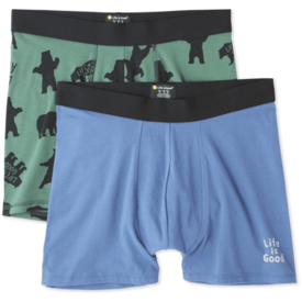 Life is Good Men's Knit Boxer Brief Set, Bear