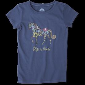 Life is Good Girls Crusher Tee, Horse
