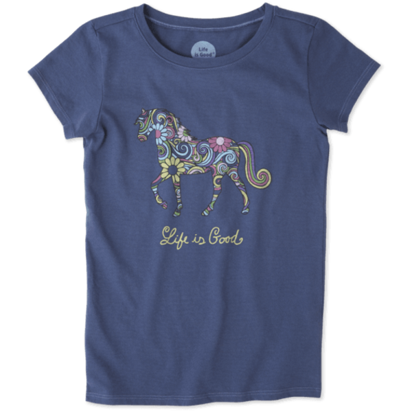 Life is Good Girls Crusher Tee, Horse