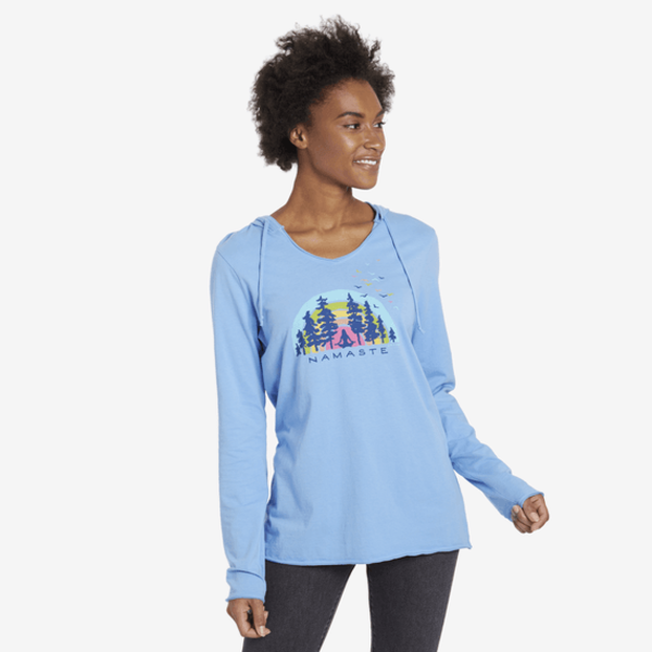 Life is Good Womens L/S Hooded Tee, Namaste