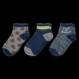 Life is Good Boys 3-Pack Socks, Football