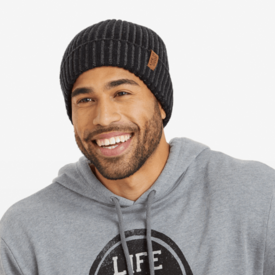 Life is Good Toasty Groove Beanie, Life is Good, Night Black