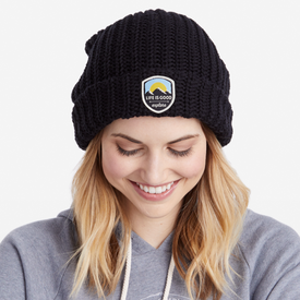 Life is Good Braided Beanie, Explore, Night Black