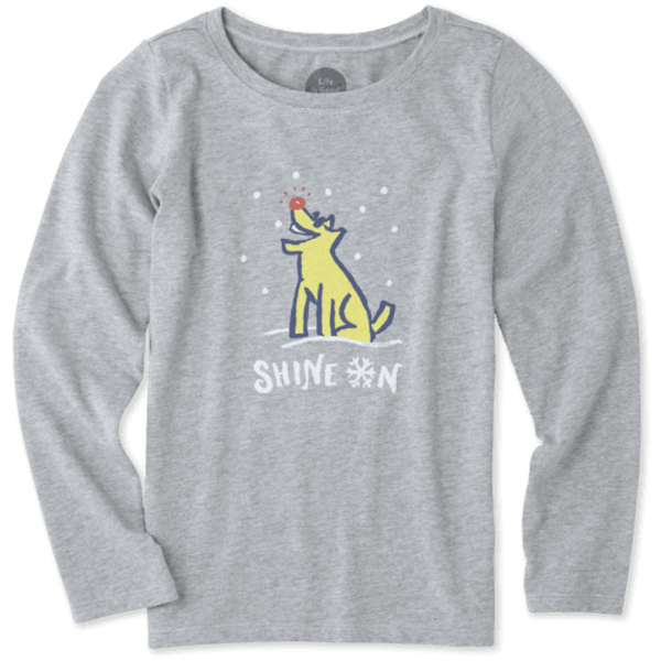 Life is Good Girls L/S Crusher Tee, Shine On Dog