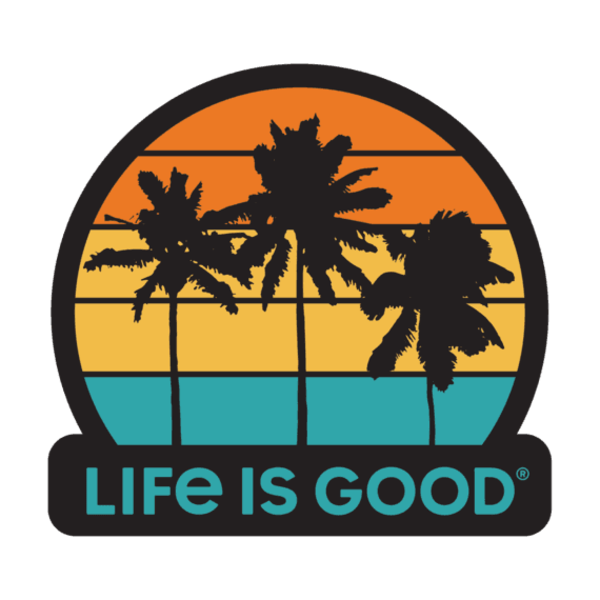 Life is Good Die Cut Decal, Palm Trees