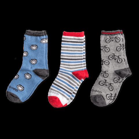 Boys 3-Pack Crew Socks, Bike
