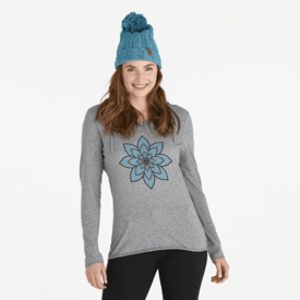 Life is Good Womens L/S Hooded Tee, Geo Daisies