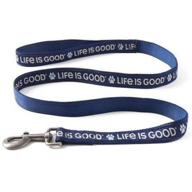 Life is Good Nylon Dog Leash - 6FT, Paw Print Darkest Blue