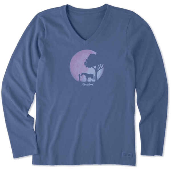 Life is Good Womens Crusher L/S Vee Celestial Horse
