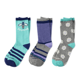 Life is Good Girls 3-Pack Crew Socks, Bee Positive Daisy
