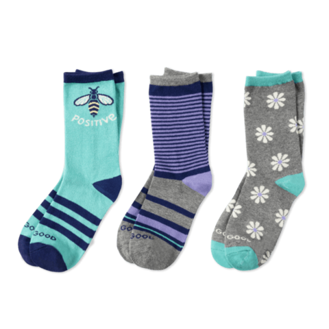 Girls 3-Pack Crew Socks, Bee Positive Daisy