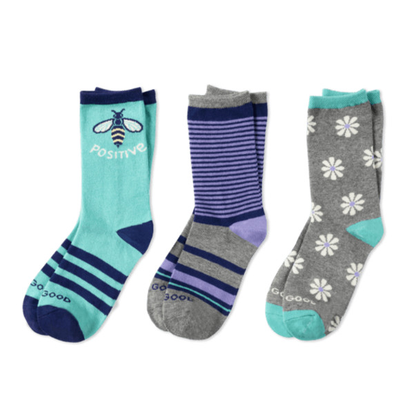 Life is Good Girls 3-Pack Crew Socks, Bee Positive Daisy