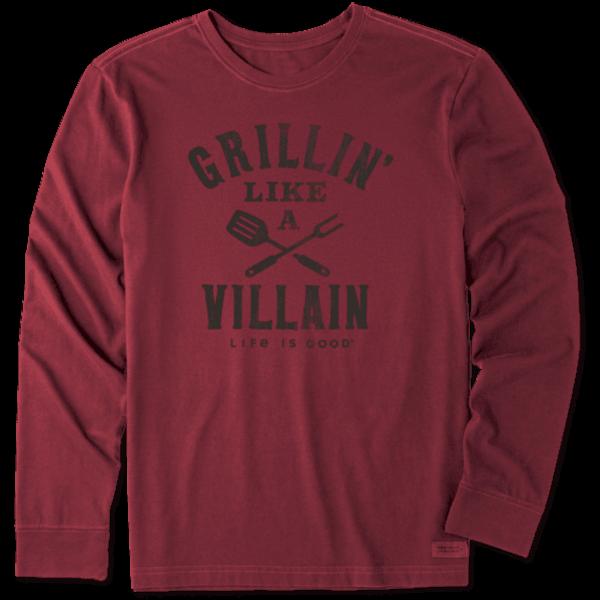 Life is Good Men's Crusher L/S Tee Grillin' Like a Villain