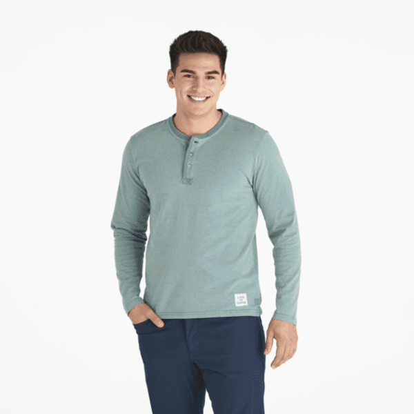 Men's Henley L/S Crusher, Stripe